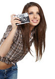 Photographer woman  is waiting for the shot Royalty Free Stock Photos