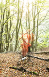 Photographer woods lens flare. A ghost effect of the photographer in the woods Stock Photo