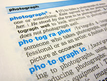 The photographer word. Close-up of the word photographer in a dictionary Royalty Free Stock Photo
