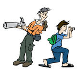 Photographer at work. Illustration of two photographers at work shooting photos Royalty Free Stock Images