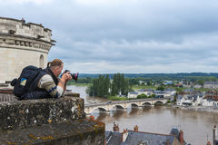 Photographer at work. In Amboise castle. Loire valley, France Royalty Free Stock Photos