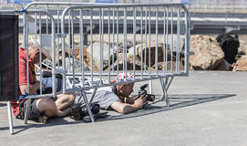Photographer at Work - Tour de France Royalty Free Stock Photo