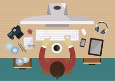 Photographer working at the desk, top view equipments for work on table, flat line vector and illustration. royalty free illustration