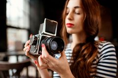 Photographer working Royalty Free Stock Photos
