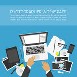 Photographer workspace concept. Photography workplace on top view. Designer desk photographer, collections of flat design of computer, camera and other elements Stock Images