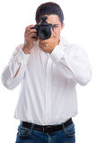 Photographer young trainee photography photos with camera occupa Royalty Free Stock Image