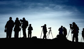 Photographers. On the mountain in morning Royalty Free Stock Photos