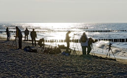 Photographers at the the beach of the Eastern sea Stock Images