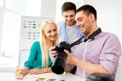 Photographers with camera at photo studio royalty free stock images