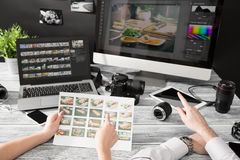 Photographers Computer With Photo Edit Programs. Stock Photos