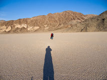Photographers in the Desert. Racetracking Playa, pgotographers. Death Valley, California Stock Photo