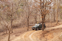 Photographers eagerly waiting for tiger sighting in Pench Tiger reserve. SEONI, INDIA-JUNE 26: Tourist moving in Safari jeep during game drive in Pench Tiger royalty free stock photography