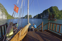 Photographers on Ha Long Bay Royalty Free Stock Photos