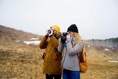 Photographers on a hill Stock Photos