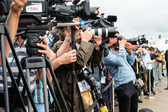 Photographers and journalists at a press conference. Stock Photography