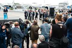 Photographers and journalists at a press conference. BERLIN, GERMANY - JUNE 01, 2016: Photographers and journalists at a press conference. Exhibition ILA Berlin royalty free stock image