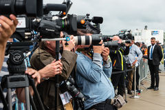 Photographers and journalists at a press conference. Royalty Free Stock Photos