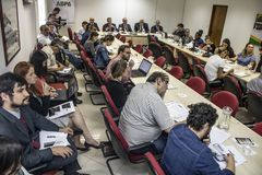 Photographers and journalists at press conference in Sao Paulo city, Brazil. Sao Paulo, Brazil, December 13, 2018. Photographers and journalists at press stock photo