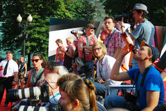 Photographers at Moscow Film Festival Royalty Free Stock Image