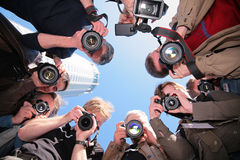 Photographers on object. Group of photographers on object Stock Photos