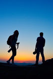 Photographers outdoor at sunset Royalty Free Stock Image