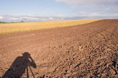 Photographers shadow on  tillage Royalty Free Stock Photos