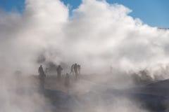 Photographers shoot fumaroles Royalty Free Stock Photo