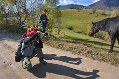 Photographers shooting a horse. In Magura village in autumn royalty free stock image