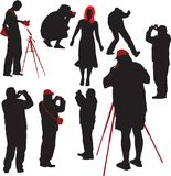 Photographers shooting model. 8 silhouettes of photographers shooting young model. Vector illustration Royalty Free Stock Photos