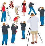 Photographers shooting model. 10 photographers shooting young model. Color vector illustration Royalty Free Stock Images