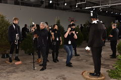 Photographers shooting models at the  Nick Graham Presentation during New York Fashion Week Men's Fall/Winter 2016 Royalty Free Stock Image