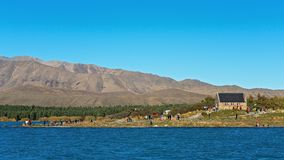 Sightseers At The Church Of The Good Shepherd At Lake Tekapo, New Zealand stock photo
