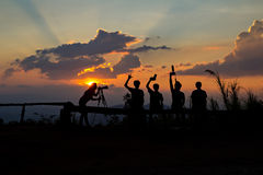 Photographers silhouetted Royalty Free Stock Photo