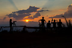 Photographers silhouetted Royalty Free Stock Photography