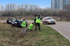 Photographers snapshot broken car standing on roadside Stock Image