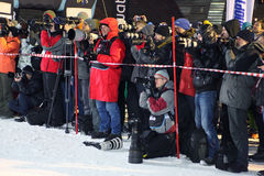 Photographers at Snowboard World Cup Stock Photo