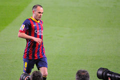 Photographers take pictures of Andres Iniesta, F.C Barcelona player, at the Camp Nou Stadium Royalty Free Stock Photography