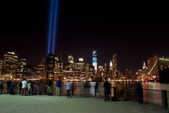 Photographers taking pictures. A shot of photographers taking pictures of the tribute light on September 11, 2012 Royalty Free Stock Photography