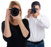 Photographers team photographer young trainee photography photos Royalty Free Stock Photo
