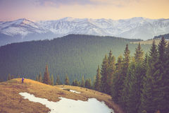 Photographers to shoot beautiful mountain snow tops. Royalty Free Stock Photo