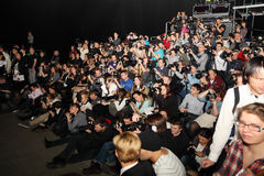 Photographers and videographers at Volvo Fashion week Stock Photos