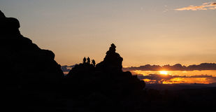 Photographers watching a sunset. At Arches National Park, Utah Royalty Free Stock Photo
