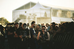 Photographers work from the `front stage` in Hellfest Festival Royalty Free Stock Photo