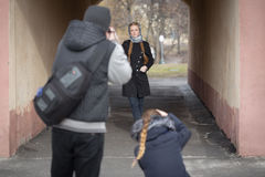 Photographers work with a model on the street Royalty Free Stock Photography