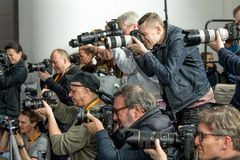 Photographers work during the 68th Berlinale stock photo