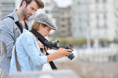 Photographers at work in town Royalty Free Stock Photo