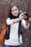 Photographes próprios da mulher nova Imagem de Stock