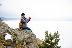 Photographes sur une colline photo stock