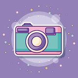 Photographic camera icon. With colorful stars over purple background, vector illustration Stock Images