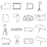 Photographic and camera simple outline icons Stock Photo